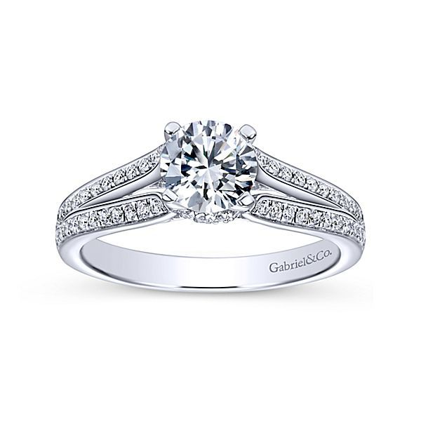 Saoirse 14k White Gold Round Split Shank Engagement Ring