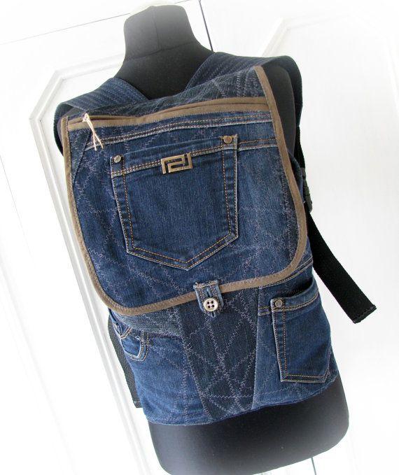 jean backpack denim backpackrecycled jeansdenim by klaptykart