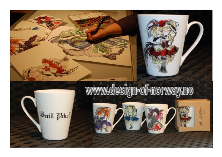 rebel design by Anna Srøm ,, design of Norway,, mugs ,, Snill pike,, http://www.design-of-norway.no/ www.snillpike.no