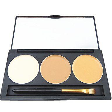 3 väriä ammatillinen peitevoide säätiö poskipuna meikki kosmeettinen paletti peili ja harjasetti – EUR € 5.97