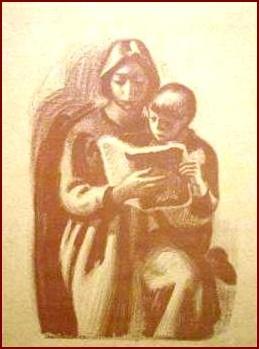Plakat. Aage Sikker Hansen. Moder læser for barn. Plakaten hang i mine morforældres hjem og jeg har altid elsket den. Hvornår er den fra?