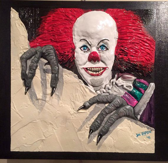 """371 PENNYWISE  The Clown  by KOPLERART on Etsy ~ It's hard to believe that this freaky looking clown has been scaring kids for 25 years now ! The Movie was So...so. BUT """" Pennywise """" was freaking COOL !"""