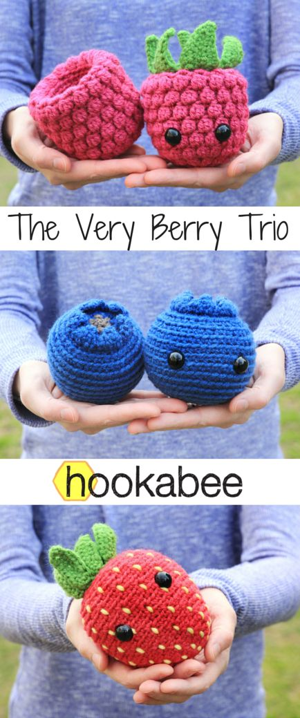Amigurumi Berry patterns (raspberry, blueberry, strawberry) by @hookabee