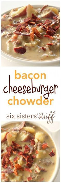 Bacon Cheeseburger Chowder recipe - Cold winter days call for warm hearty soups! All the goodness of a bacon cheeseburger in a delicious chowder – soup will never be the same.