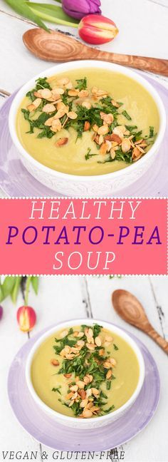 Creamy & Healthy Potato Pea Soup Recipe | http://VeganFamilyRecipes.com | This soup is vegan and gluten-free! Very healthy and perfect for spring! #gf #dairyfree #vegetarian