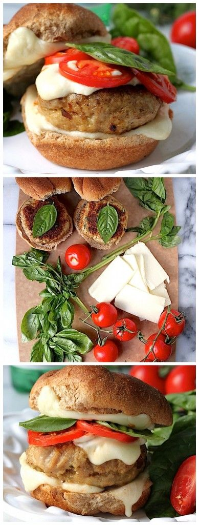 Juicy, flavorful chicken burgers are topped with gooey mozzarella, roasted tomatoes, and fresh basil! These are a hit with everyone!