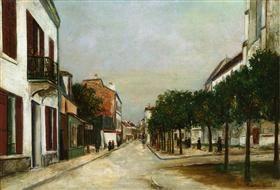 Moutier street and square de la Mairie - Maurice Utrillo