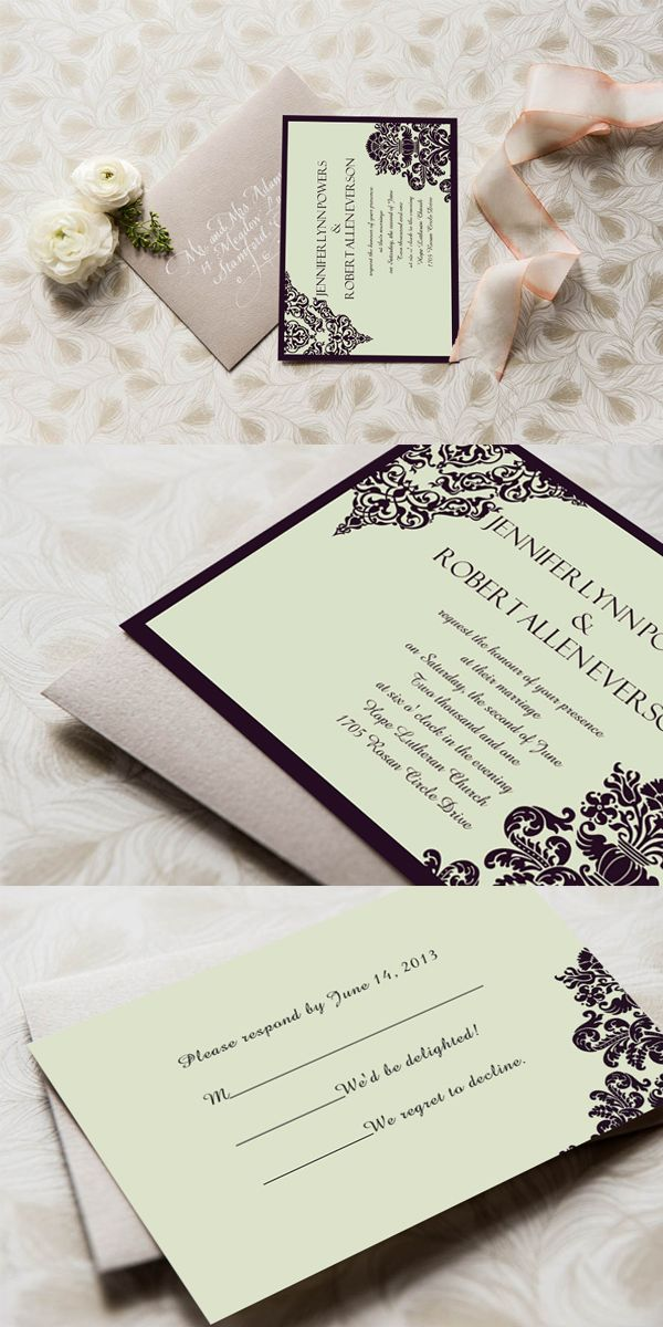 inexpensive wedding invitations with response cards%0A affordable formal damask wedding invites EWI