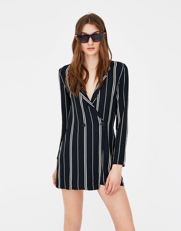 367ad925529a0 Vestido-mono blazer rayas - Vestidos - Ropa - Mujer - PULL BEAR Panamá