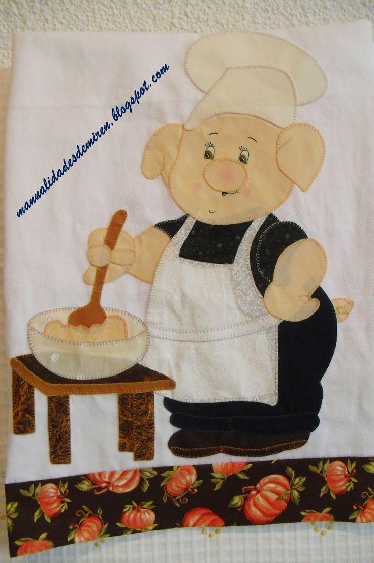 De todo un poco: Pañito de cocina cerdito cocinero