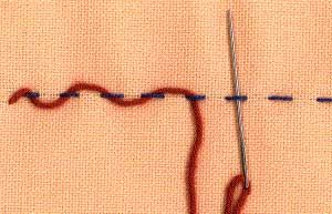 a step by step illustration of how to work threaded running stitch