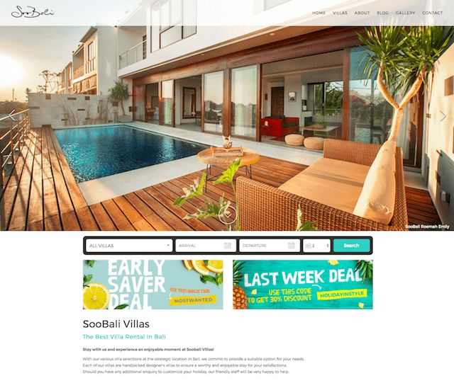 Soobali Villas - This Lodgify customer have discount banners on their homepage. They not only fit the look and feel of their website, but they also create a sense of urgency which will help convert lookers into bookers!   #vacationrentalwebsites #vacationrentals #webdesign #website