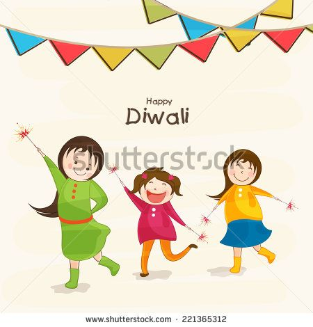Little cute kids holding fire crackers and stylish text of Diwali for Diwali celebration on beige background.