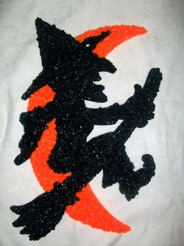 1970s the kage company witch and moon melted popcorn plastic hanging decoration - Halloween Decorations Ebay