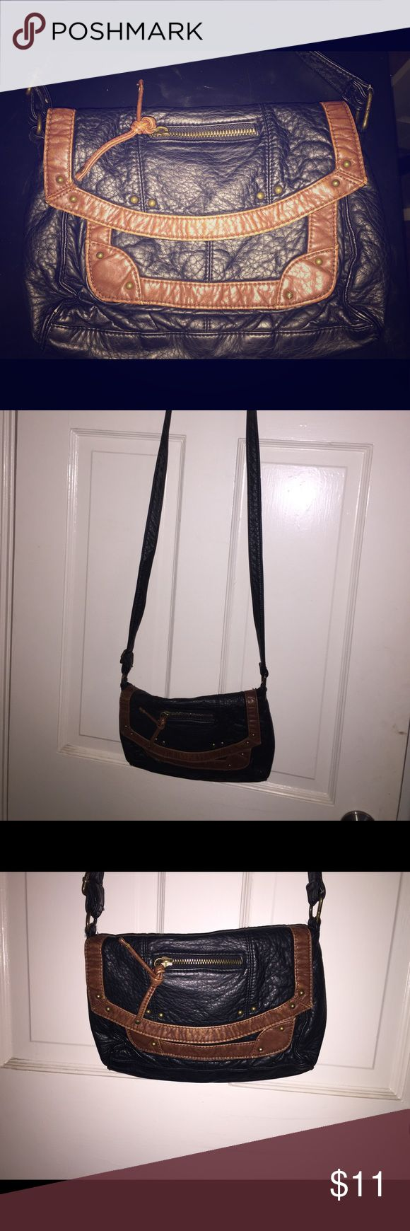 Crossbody small bag Black and brown crossbody, with worn faux leather look, good condition, American Eagle Outfitters Bags Crossbody Bags
