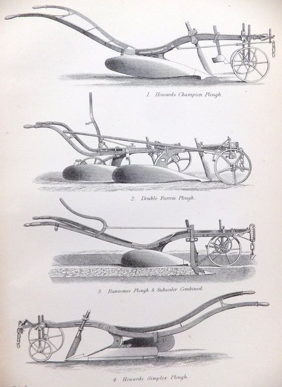 Three Agricultural Implements Pictures, Farming, Agriculture, Ploughs, Black and White Prints, 1880s, Home Decor on Etsy, £20.00