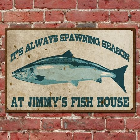 Personalized vintage fish house sign custom seafood for Vintage fishing signs