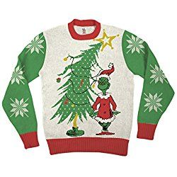 Dr Seuss Grinch As Santa Next To Tree Off-White Ugly Christmas Sweater (Adult Large)