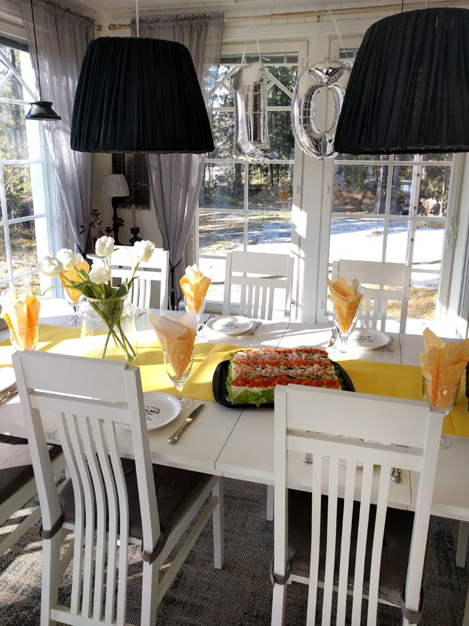 Yellow table setting birthday party