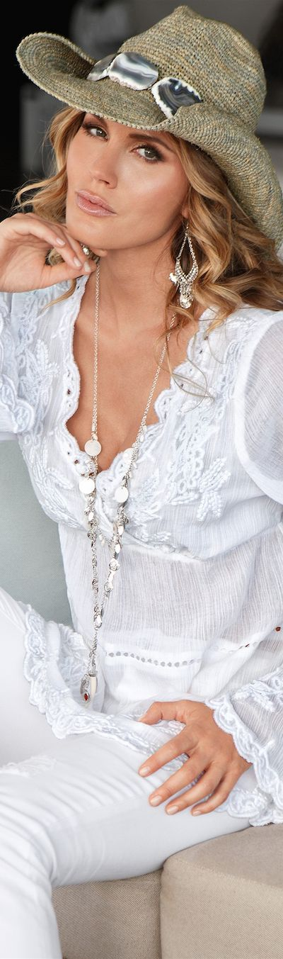 Country style hat, White Boho Chic, Casual crochet, and lace. Love it.