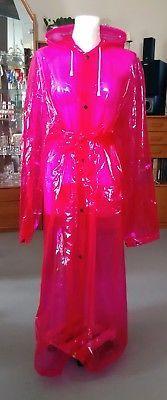 PVC-Mantel, Regenmantel, Raincoat, rot transparent, Gr. XXL, mit Kapuze