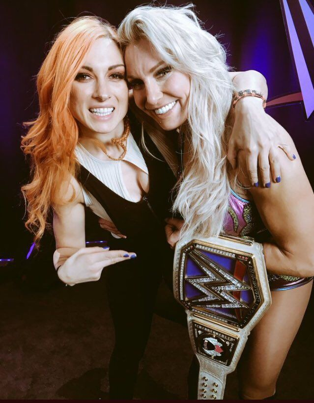 Becky and Charlotte celebrating Charlotte's win!