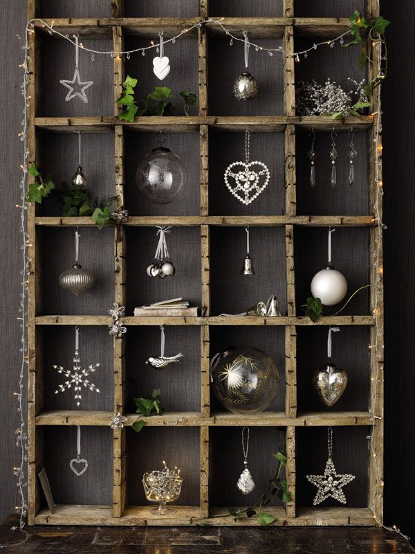 DIY (no tutorial) | If you're a DIYer, create these shelves and find yourself some pretty Christmas decorations. This could be used in place of a tree if your home is too small | The White Company.