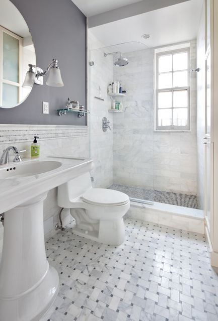 Bathroom Ideas For Grey : Marbled tile glass door showe gray bathroom i like the