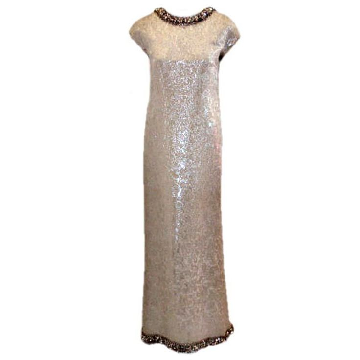 Christian Dior Haute Couture Silver Sequin Gown, Circa 1965 | 1stdibs.com