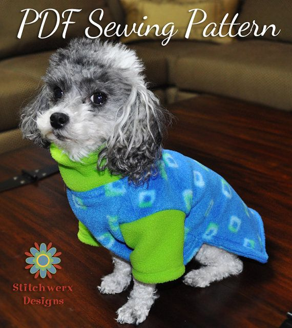 DOG CLOTHES PATTERN, Small Dog Fleece Sweater Sewing Pattern, Dog ...