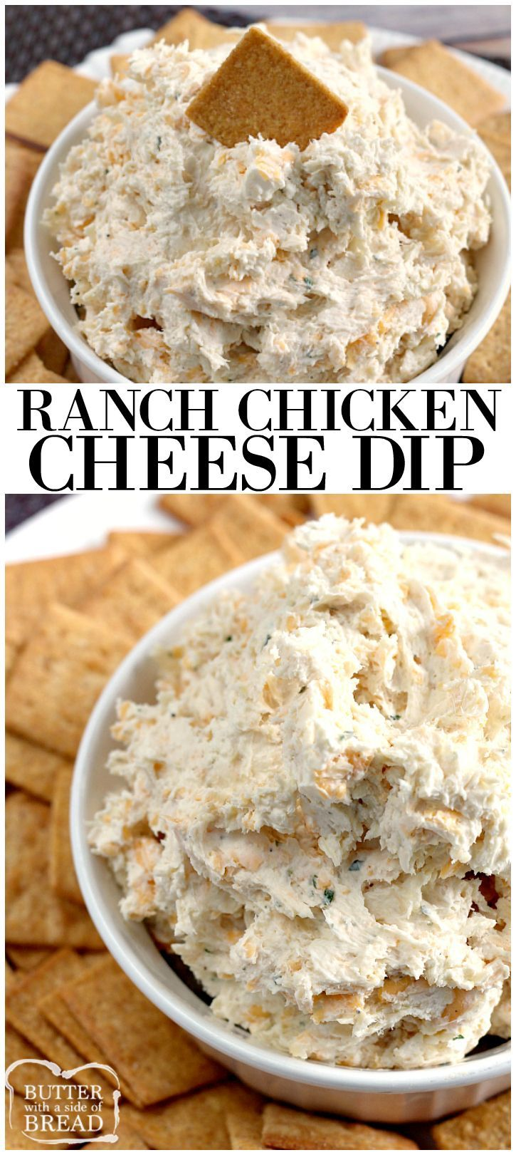 Ranch Chicken Cheese dip will knock your socks off! Only four basic ingredients needed and only takes a few minutes to whip up for your next get together! Easy ranch dip recipe with chicken from Butte