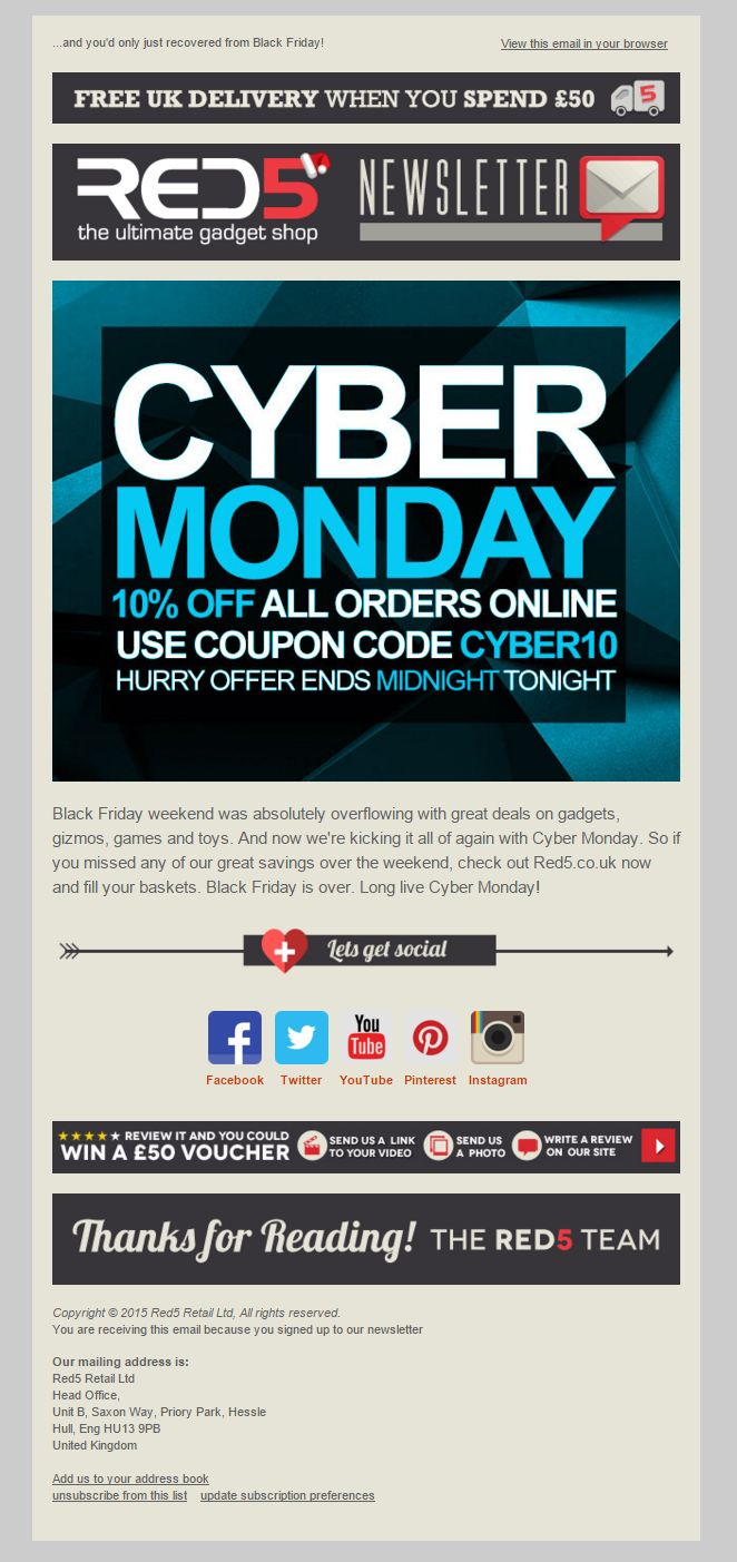 Red5 cyber monday deal with coupon code emailmarketing cybermonday coupon