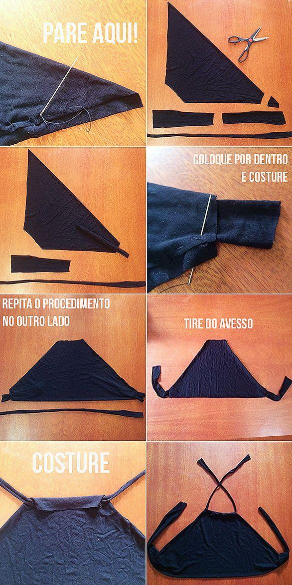 DIY Cropped Customização Top frente unica