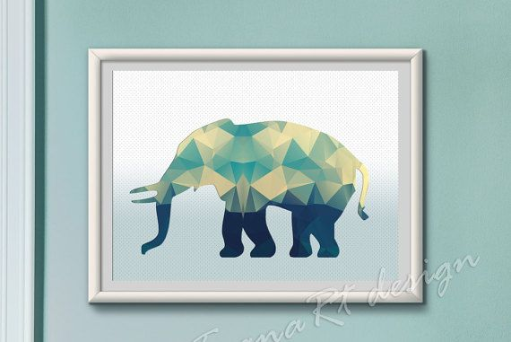 Polygon Elephant Print Printable Elephant Geometric by TyanaRt