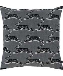 Habitat Hop Rabbit Print Cushion - Grey.