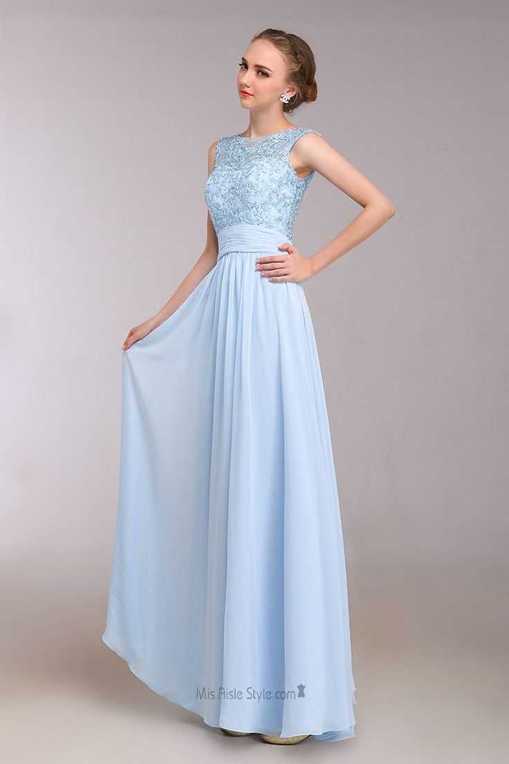 Floor Length Lace Light Blue Evening Party Dress