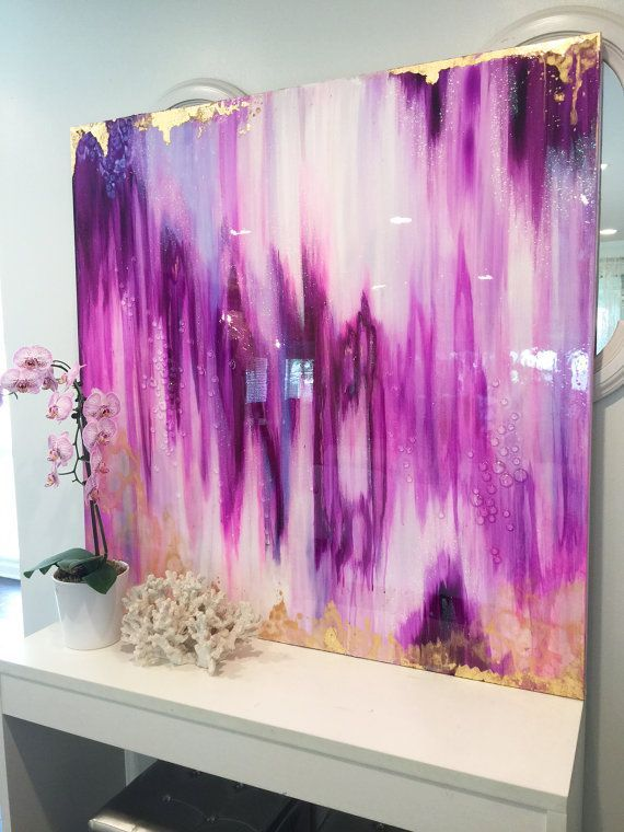"""Abstract Art Large Canvas Painting Lavender, White, fuschia, Gold Ikat Ombre Glitter with Glass and Resin Coat 48"""" x 48"""" real gold leaf"""