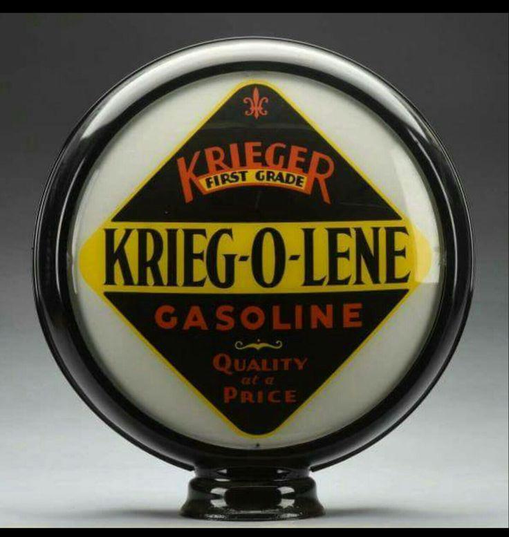 RARE Krieger Oil Co. Gas Globe