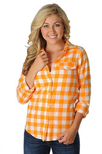 UG Apparel Women's University of Tennessee Volunteers Checkerboard Plaid Shirt Medium Orange/White