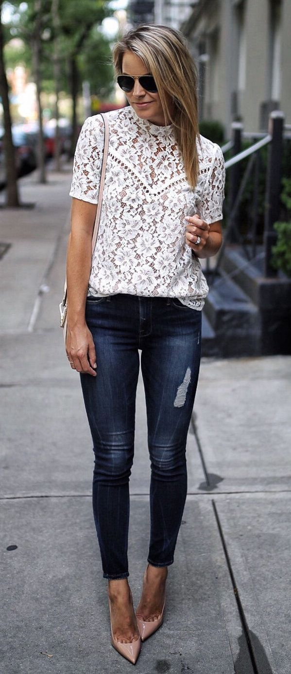 #summer #outfits Date Night! A Little Lace And A Classic Pair Of Neutral Heels For The Win  This Top Is Part Of The Nordstrom Sale And Also Comes In A Pretty Blush Pink!