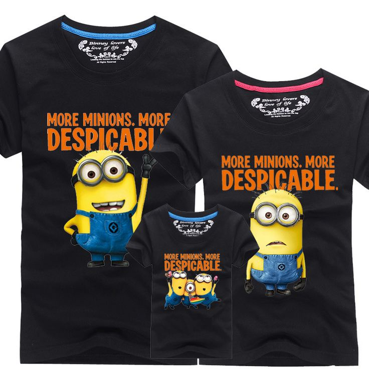 2016 New Family Look T Shirts 13 Colors Summer Family Matching Clothes Dad & Mom & Son & Daughter Cartoon Minions Outfits, HC311