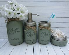 Mason Jar Bathroom Set, Mason Jar Soap Dispenser, Rustic Decor, Bathroom Set, Housewares, Set of 4 on Etsy, $35.00