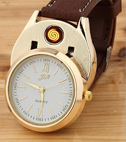 Drhob Novelty Quartz watches Cigarette Cigar Lighter with USB Electronic Rechargeable Windproof Cigarette Lighter