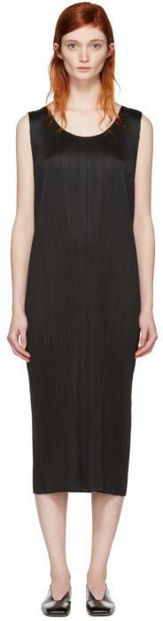 Pleats Please Issey Miyake Black Pleated Maxi Dress