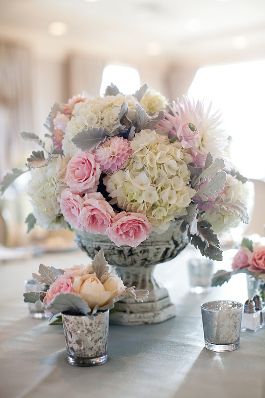 pink roses in silver