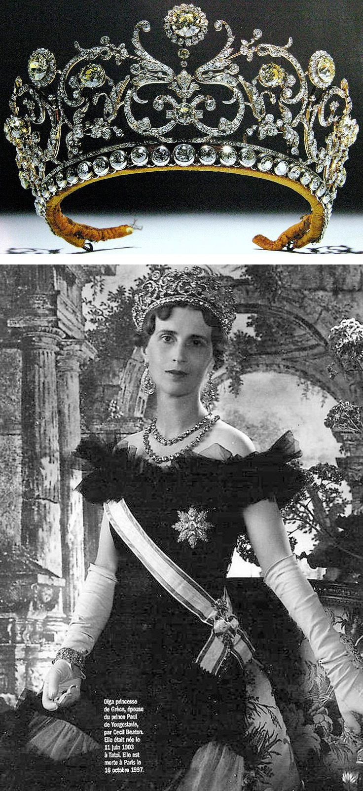 The Abamalek Lazarev Tiara. A tiara designed as conventionalized foliage and flowers centered with pale yellow diamonds, ordered by Princess Abamalek Lazarev of Georgia in 1907 and made by Boucheron. She bequeathed it to her nephew Prince Paul of Yugoslavia. The diamond rivière which runs along the base of the jewel is a later addition, apparently made by Princess Paul of Yugoslavia (nee Princess Olga of Greece and Denmark).
