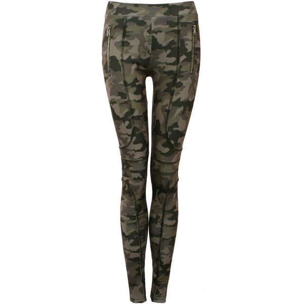 Pilot Camouflage Zip Detail Jeggings ($30) ❤ liked on Polyvore featuring pants, leggings, khaki green, camo jeggings, green camouflage pants, jeggings leggings, camo pants and khaki leggings