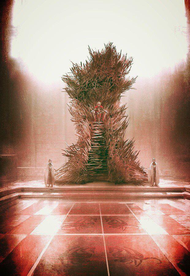 Ilustración del Trono de Hierro por Marc Simonetti, que según G.R.R. Martin es la que más se asemeja su concepción de dicho trono.  A mí parece una auténtica pasada.
