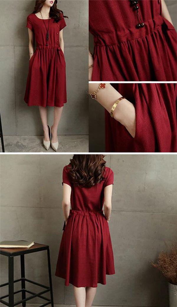 acc8512b05c88 Women's Linen Dress red summer short sleeve cotton dress.You will ...