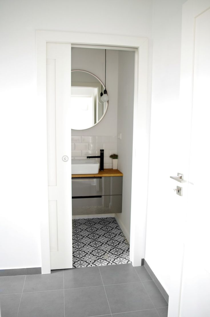 MINIMALISM, moroccan tiles, morrocan style, bathroom, white, subway tiles, wood, black, grey, mandala, AnyTHING, bulb, lights, lamps, round mirror, IKEA